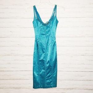 Dolce & Gabbana Blue Satin Bodycon Dress Size XXS